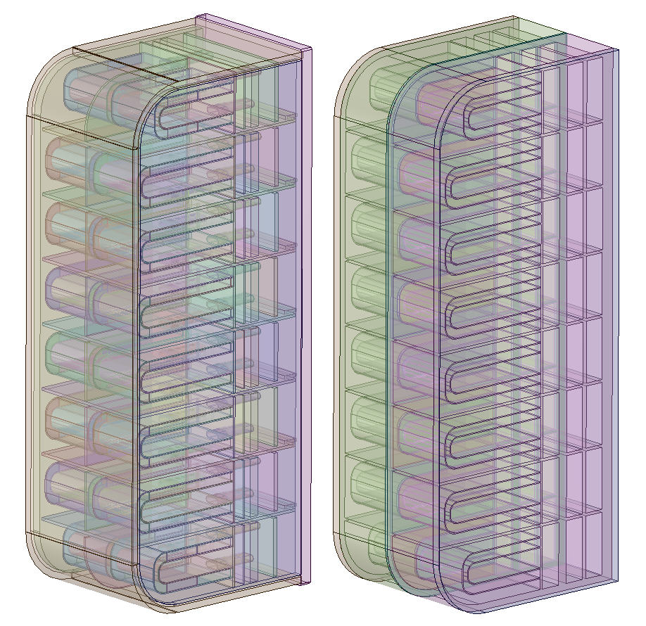 Side-by-side images showing an unsimplified and simplified TBM geometry