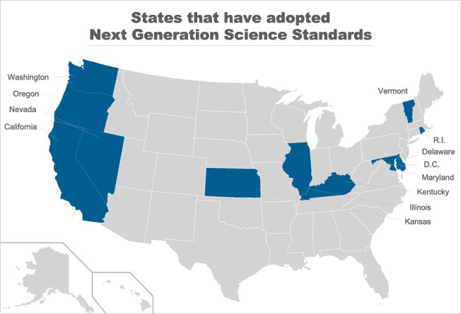 A map of the states that have adopted Next Generation Science Standards.