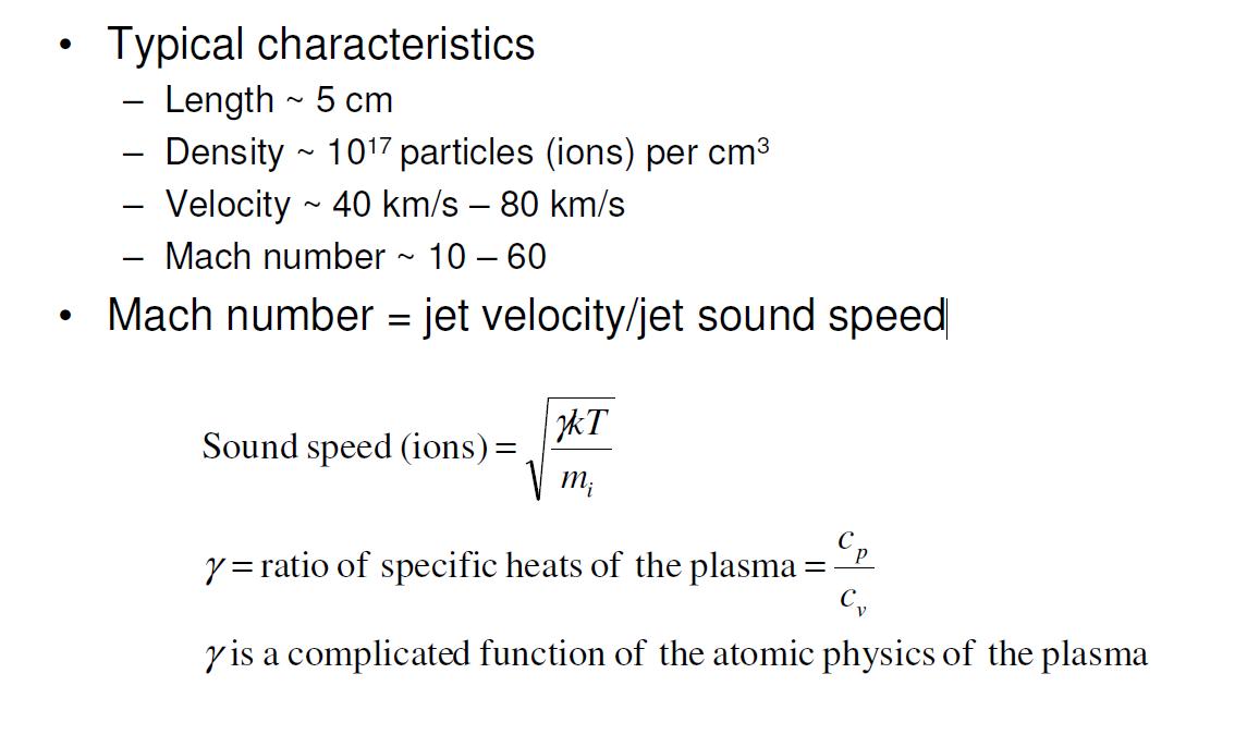 Plasma jet properties